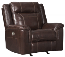 Picture of Wyline Coffee Leather Power Recliner with Adjustable Headrest