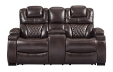 Picture of Warnerton Chocolate Power Reclining Loveseat With Adjustable Headrest