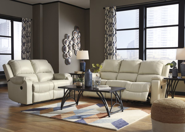 Rackingburg Cream 2-Piece Leather Reclining Living Room Set