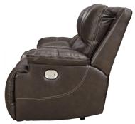 Picture of Ricmen Walnut Leather Power Reclining Loveseat/Adjustable Headrest