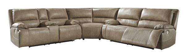 Picture of Ricmen Putty 3-Piece Leather Power Reclining Sectional