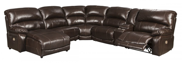 Picture of Hallstrung Chocolate Leather 6-Piece Left Arm Facing Power Reclining Ssectional