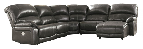 Picture of Hallstrung Gray Leather 5-Piece Power Reclining Sectional