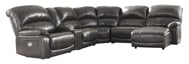 Picture of Hallstrung Gray Leather 6-Piece Right Arm Facing Power Reclining Sectional
