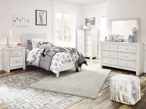 Picture of Paxberry White 6-Piece Twin Panel Bedroom Set