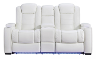 Picture of Party Time Power Loveseat With Adjustable Headrest-White