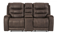 Picture of Yacolt Walnut Power Reclining Loveseat With Consol